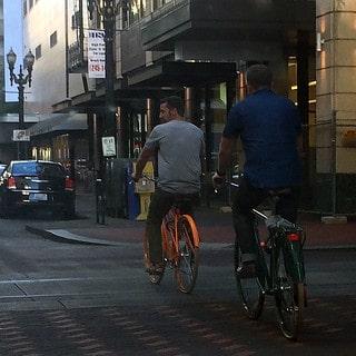 Biking through Downtown Portland